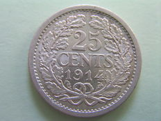 The Netherlands – 25 cent coin 1914 Wilhelmina – Silver