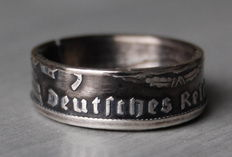 Double-Sided 0.900 Silver Coin Ring Made from a 1937 5 Reichsmark Coin, German Reich, WW2