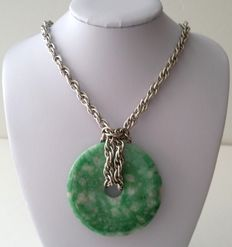 Whiting & Davis Silver Plated Chain With Jade Donut Pendant