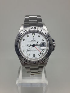 "Rolex Explorer II Polar White ""Swiss Made"" Dial No Holes Case F Series - 16570T - 2004-2005"
