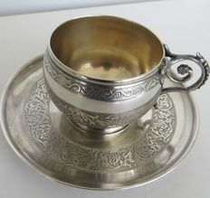 Lovely cup and saucer, sterling silver, hallmarks: Minerva's head + mark of silversmith Lanoue Edmond & Boissin Charles, Paris