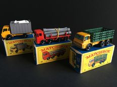 Lesney Matchbox - Misc. scales - Stake Truck No.4, Pipe Truck No.10 and Cattle Truck No.37