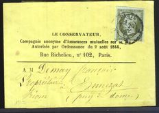 France 1860 – 1c Empire on whole newspaper strip, signed Calves  – Yvert no. 11