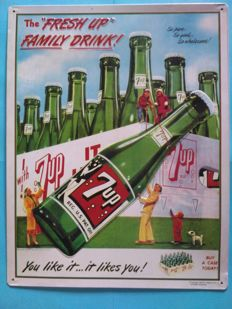 Metallic Drink Poster 7-UP -  year 93, Co. Dr.Pepper