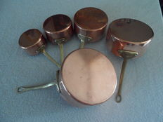set of 5 heavy copper pans