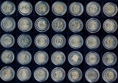 Europe – 35 different uncirculated 2 euro coins 2004-2017 in coin capsule