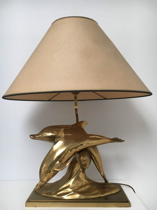 Unknown designer – Table lamp, brass, dolphins