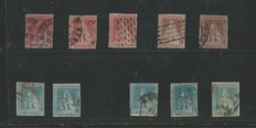 Tuscany, 1851-57 – 1 Crazia / 2 Crazie 10 x stamps – various colours and cancellation types