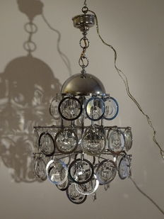 Unknown designer – Sputnik Design light with pendants made from steel and glass discs.