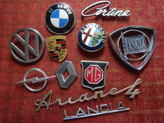Lot of car plates or badges