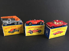 Lesney Matchbox - Misc. scales - 6-Wheel Crane Truck No.30, Fire Chief's Car No.59 and Ferrari Racing Car No.73