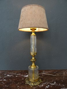 Diamond cut crystal with bronze table lamp - early 20th century