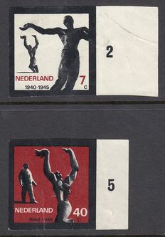 The Netherlands 1965 - Resistance monuments - NVPH 836 and 838, imperforate, with inspection certificate