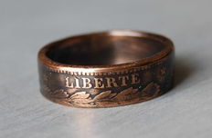 Patriotic Ring Made of 10 Centime Coins, France, 1884, Liberte - Egalite - Fraternite