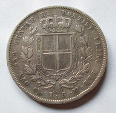 Kingdom of Sardinia – 5 Lira, 1831, Genova Carlo Alberto variant 'thin cross' – silver