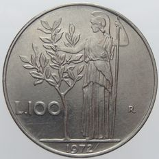 "Republic of Italy - 100 lire, 1972, ""Minerva"", with bar after the date 1972"
