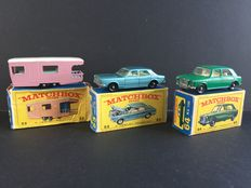 Lesney Matchbox - Misc. scales - Caravan No.23, Ford Zodiac No.53 and MG 1100 No.64