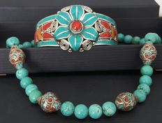 Necklace and bracelet Tibetan style stamped 925