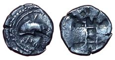 Greek Antiquity - Italy, Sicily, Zankle-Messana (500-493 BC) - AR Litra (9,5mm; 0,61g.) - Dolphin / Incuse square - HGC 2, 768
