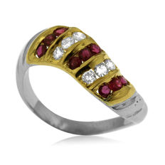 18k Gold Diamond (0.25ct) and Ruby 'Twist' Ring - size 59