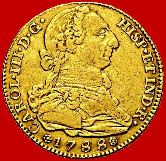 Spain - Carlos III (1759 - 1788), gold doubloon of 4 escudos  Madrid, 1788   - Catawiki