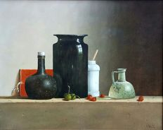 Leo Pors - 1952 - Still life - 17the century bottle and jars - strawberries - chestnut