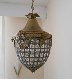 Beautiful antique bronze pendant light with garlands, France, first half 20th century