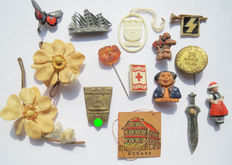 Lot of 15 original German abzeichen from World War II,among others WHW
