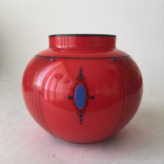 Bohemian enamelled painted Art Deco glass vase