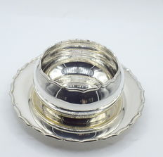 Designer sterling silver bowl with tray, international hallmarked 900