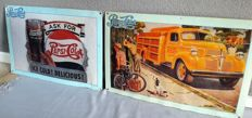 2 x large metal signs - Pepsi Cola - 2nd half of the 20th century