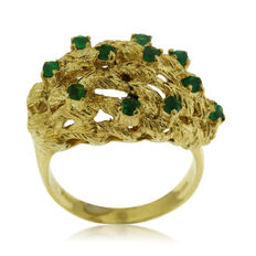 Designers 18kt Gold and Emerald Ring, As New. Ring size: 56-17 3/4-P (UK)