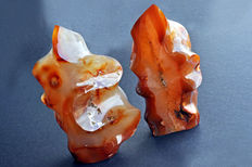 Polished Carnelian Flames - 15.9 x 9.4 x 6.3cm - 940gm - 15.6 x 7.7 x 5.7cm - 850gm  (2)