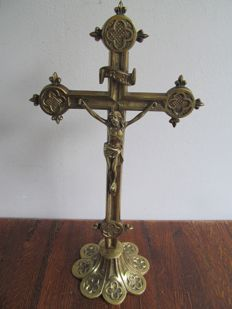 Standing bronze cross with corpus - German - Ca. 1900