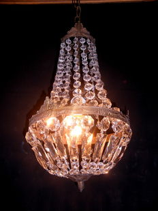 Empire style balloon chandelier with crystals, 40's
