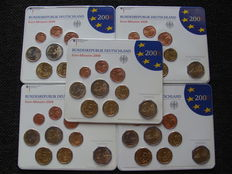 Germany – Year pack 2008A, D, F, G, J, including 5 x 2 Euro coin St. Michaelis, Hamburg