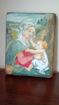 Beautiful naive work oil on wood of the Holy Family - School of the Islands
