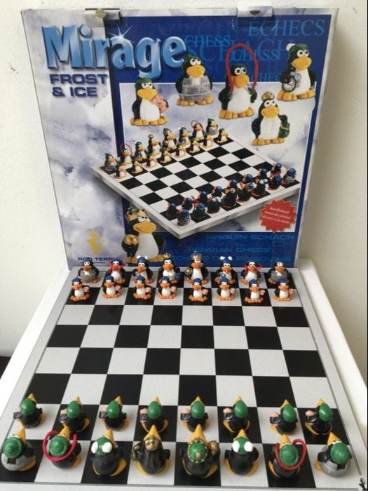 Original Penguin Chess Set Made Of Stone, Hand Decorated, Heavy Quality
