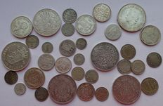 World – Lot of various coins 1848/1973 (33 coins) – silver
