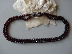Two-strand garnet necklace with silver clasp