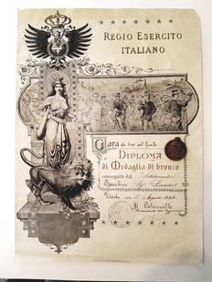 Italian medal and certificate. 20th century.