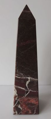 Interesting Obelisk of polished Cherry Red Marble - Griotte Marble - 20cm - 750gm