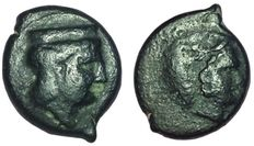 Greek Antiquity - Italy, Sicily, Thermae Himerenses - AE (16mm; 2,93g.), c. 407-340 BC - Head Hera / Head Herakles - CNS 4