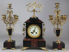 Antique French three piece marble clock set - around 1880.