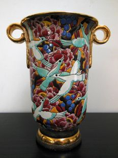 Raymond Chevalier for Boch Frères La Louvière - Art Deco vase with birds