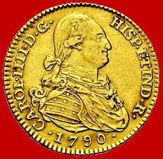 Spain – Carlos IV (1788-1808) – 2 escudos gold coin – 1790 – Madrid