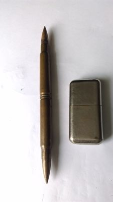 "Lighter- + decoration object bullets ""Poilu"" manufacturing 1914/1918 WW1"