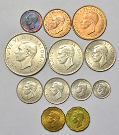United Kingdom - Farthing up to and including Crown 1937 George VI (12 pieces) incl. silver