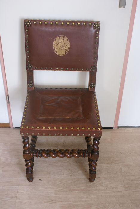 four spanish chairs oak wood with twisted legs and leather