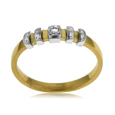 18kt white and yellow gold diamond Ring, size: 51-16.1-L (UK)
